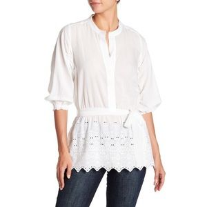 Lucky Brand Eyelet Tunic Peasant Boho Blouse Top L